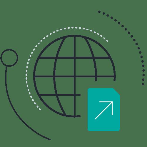 Document arrow globe