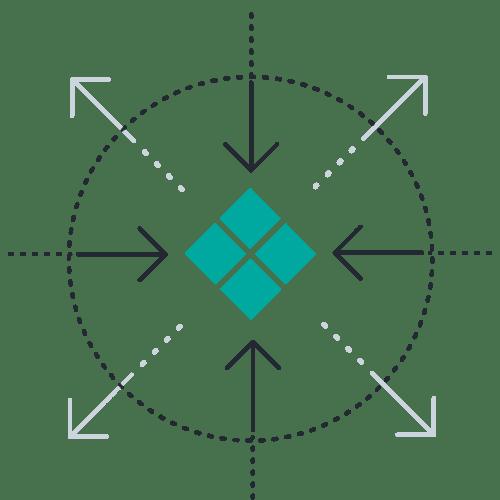 Squares inward outward arrows