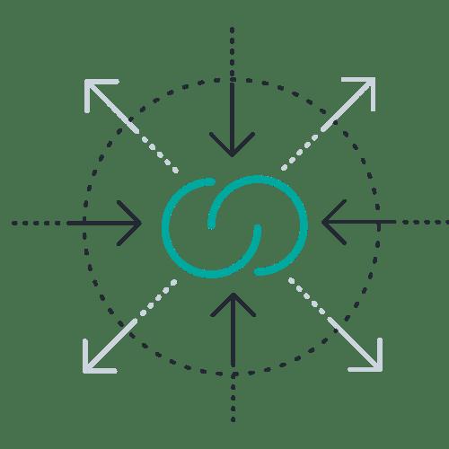 Agile icon inward outward arrows