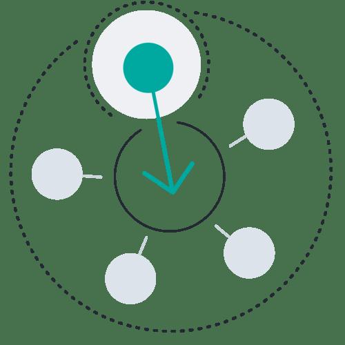 Circle inward arrow