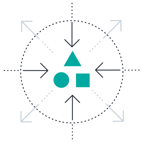 Square circle triangle inward outward arrows