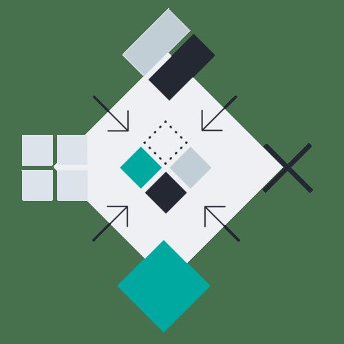 Squares inward arrows